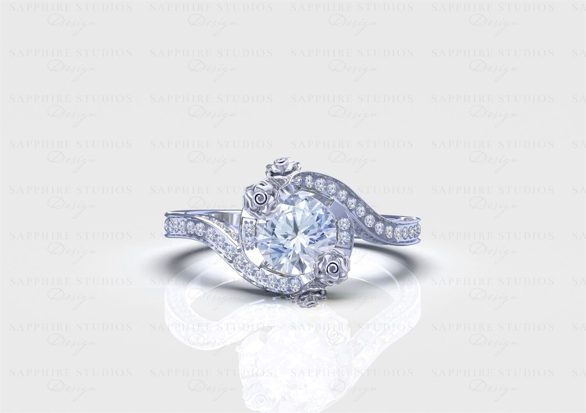 Le Rose 155ct Round White Diamond Twist Sterling Silver Engagement