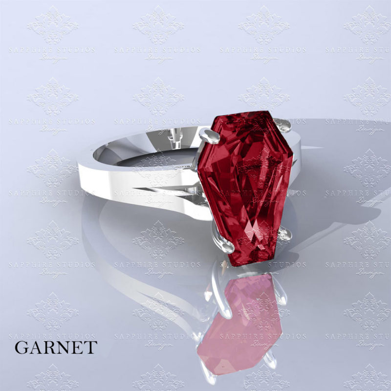 autumn-white-gold-garnet-gold-coffin-cut-ring. (4n)