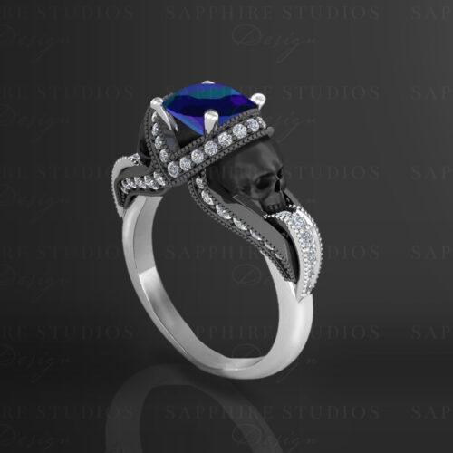 Aphrodite Alexandrite Skull Ring 02