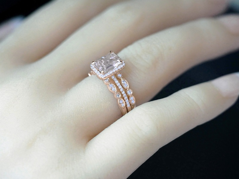 Morganite Enement Rings Rose Gold | Natural Morganite And Diamond 14k Rose Gold 3 Ring Bridal Set