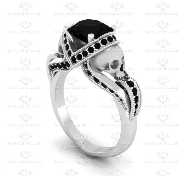 aphrodite-black-moissanite-skull-sterling-silver-engagement-ring - A