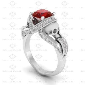 aphrodite-natural-garnet-diamond-skull-white-gold-engagement-ring A