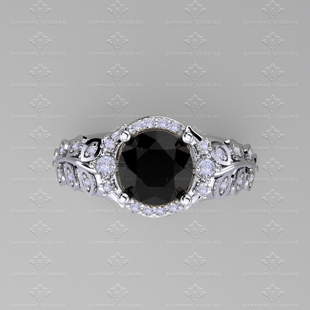 engagement center gold cut wedding halo setting round products stones and diamond white pave ring rings black accent petite set