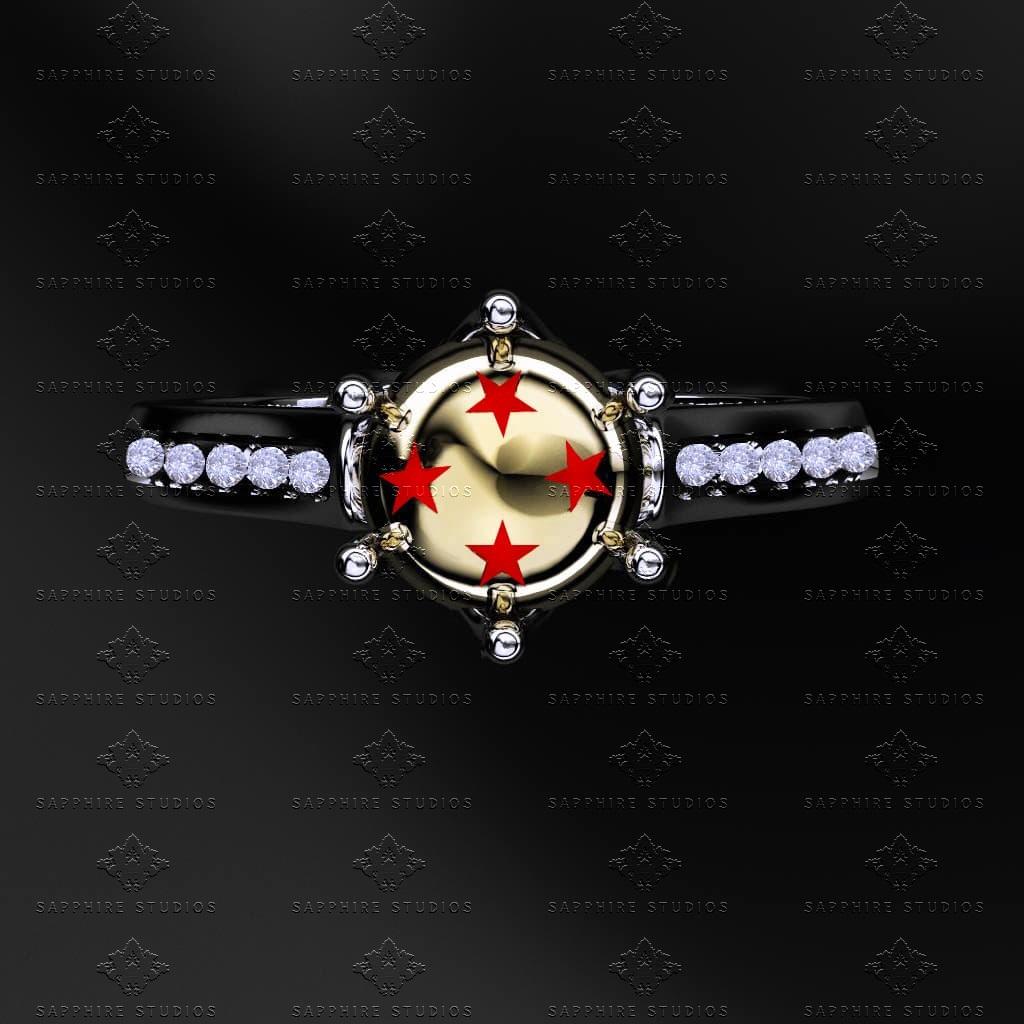 Dragon Ball Z White Diamond Sterling Silver Ring
