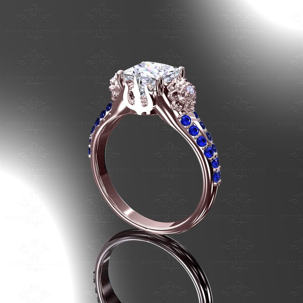 frame jewelry two cut sapphire megan thorne mt rose tone ring ribbon