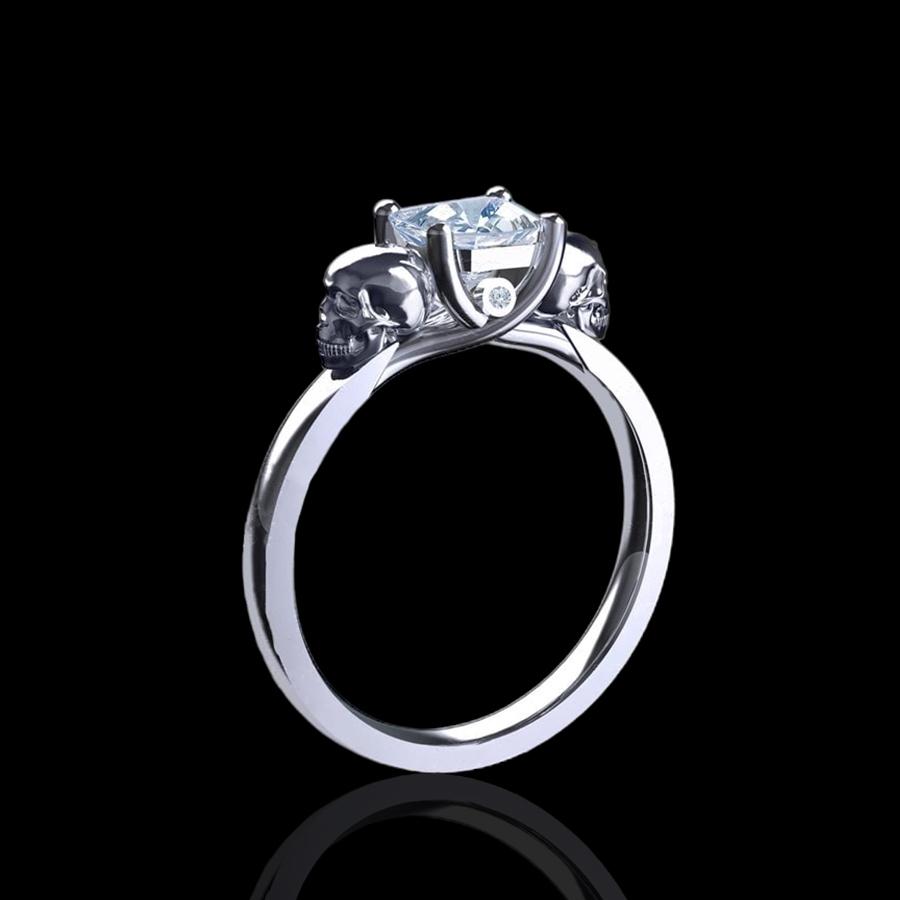 Attractive Harlow' 1.20ct Asscher Cut Gold Skull Engagement Ring CS13