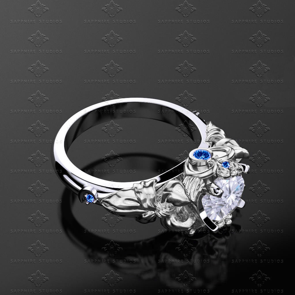 and blue rings to white diamond zoom hover promise wedding