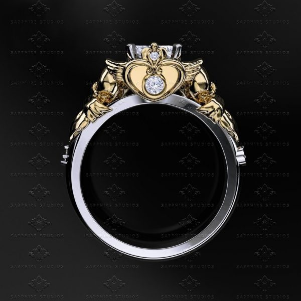rings a gold style engraved half moon in round center blk vintage our engagement shown diamond carat at halo stone looking white you are with ladies ring