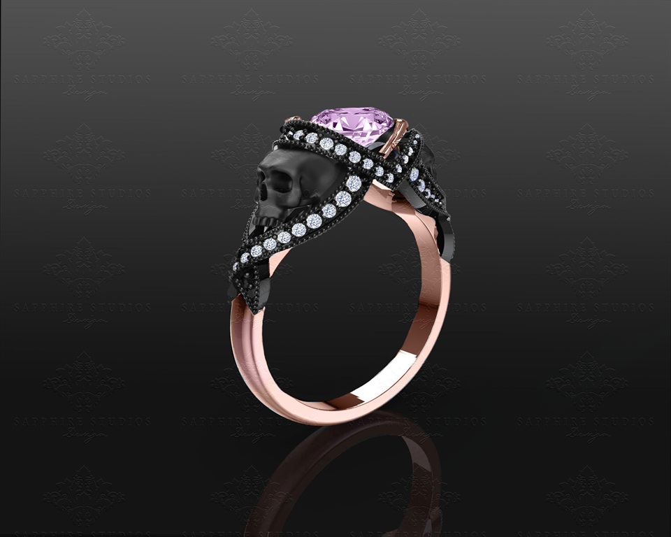 Black And Rose Gold Weding Rings 015 - Black And Rose Gold Weding Rings