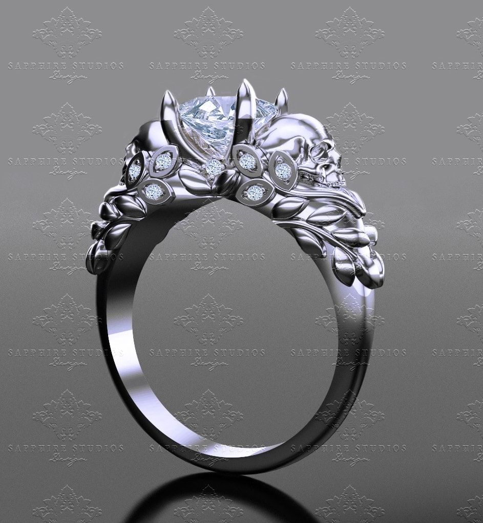 cut white rings ring products venice engagement product sterling gold princess skull silver