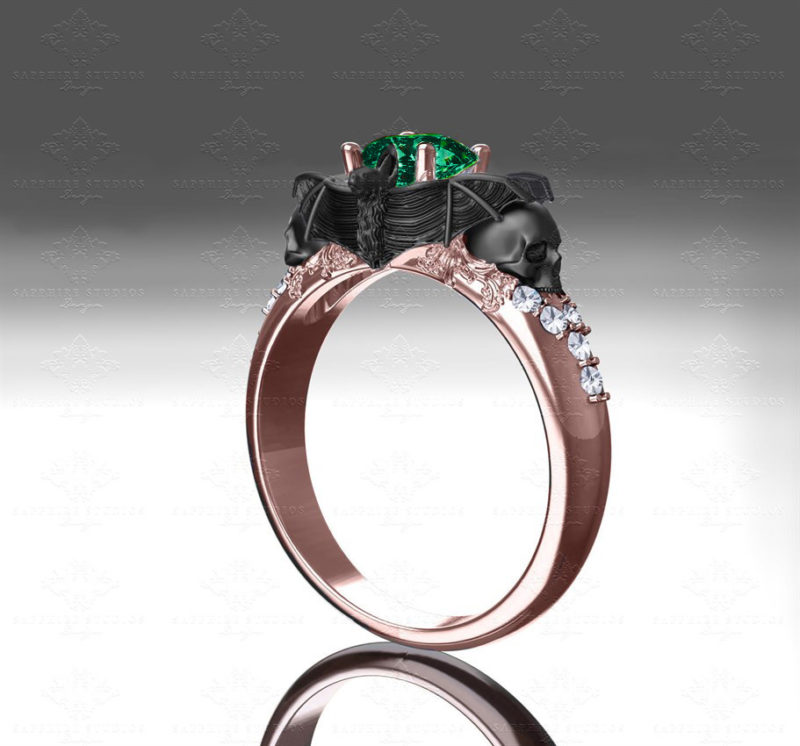 moonlight-emerald-rose-gold-bat-and-skull-engagement-ring
