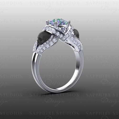 'Amora' 1.65ct Mystic Topaz Gold Skull Engagement Ring