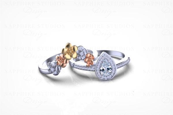 824-gold-natural-diamond-pear-cut-diamond-three-tone-bridal-set-3