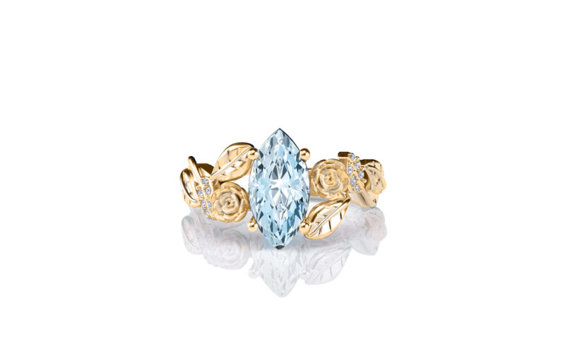 Lylah-rose-marquise-aquamarine-gold-floral-flower-gold-engagement-ring